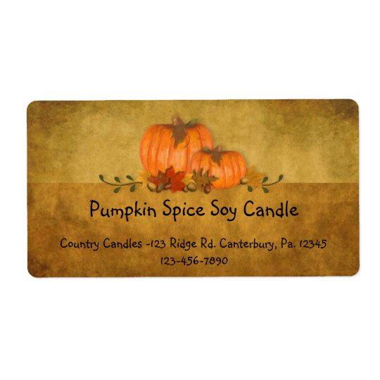 Fall Pumpkins Candle Label Shipping Label