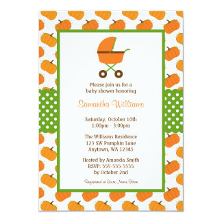 Fall Pumpkins Carriage Baby Shower Card