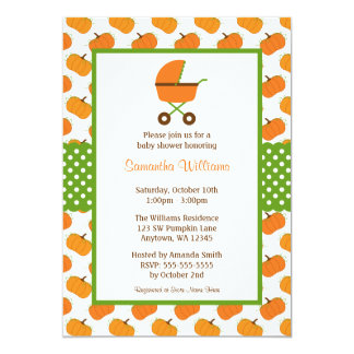 Fall Pumpkins Carriage Baby Shower Invitations