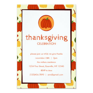 Fall Pumpkins: Customised Thanksgiving Invitation