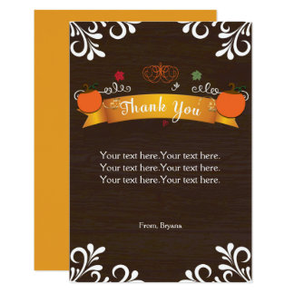 Fall Pumpkins & Dark Wood Thank You Card 9 Cm X 13 Cm Invitation Card