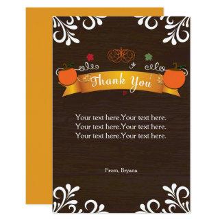 Fall Pumpkins & Dark Wood Thank You Card 9 Cm X 13 Cm Invitation Card