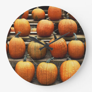 Fall pumpkins large clock