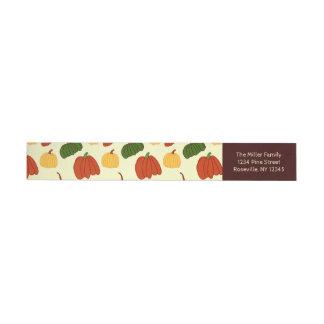 Fall Pumpkins: Return Address Labels #1 Wraparound Address Label