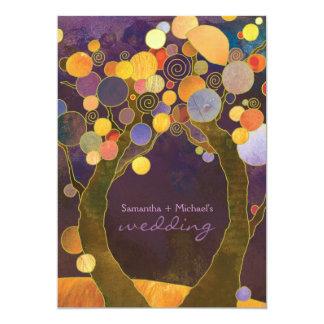 Fall Purple Love Trees Romantic Wedding 13 Cm X 18 Cm Invitation Card