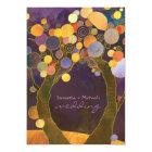 Fall Purple Love Trees Romantic Wedding Card