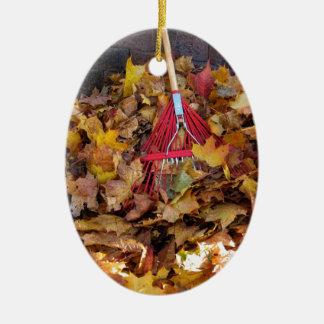 Fall - Raking the Leaf Harvest , Photograph Christmas Ornament
