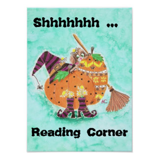 Fall reading corner poster w/ green background