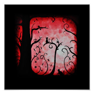 Fall Red Swirled Tree with Cats Print