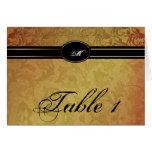 Fall Regency Wedding Table Number Card