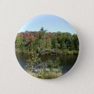 Fall River Scene 6 Cm Round Badge