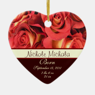 Fall Rose Birth Announcement Keepsake Christmas Ornament