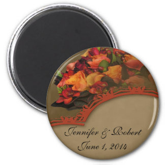 Fall Rose Bouquet 6 Cm Round Magnet