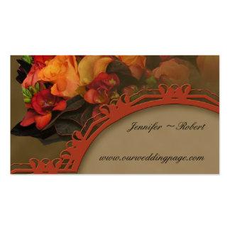 Fall Rose Bouquet Wedding Website card Business Card