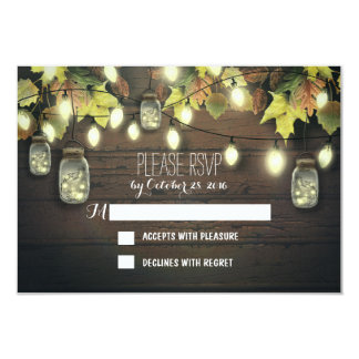 Fall RSVP cards with twinkle lights mason  jars 9 Cm X 13 Cm Invitation Card