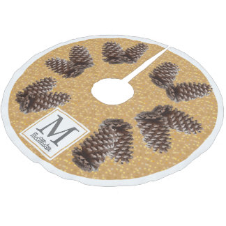 Fall Rustic Pinecones Personalized Family Name Brushed Polyester Tree Skirt