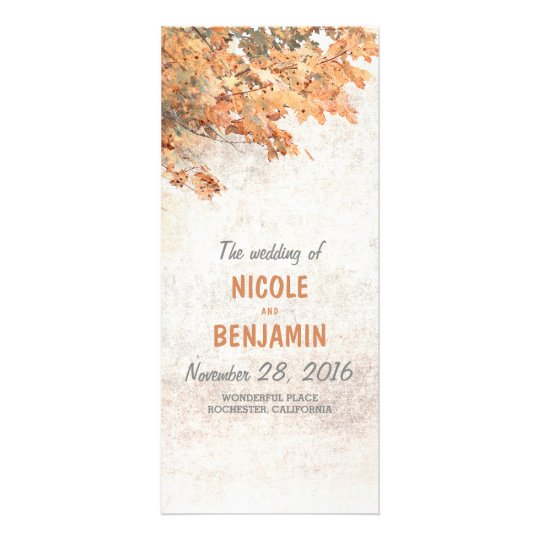 Fall Rustic Wedding Programs Personalized Rack Card