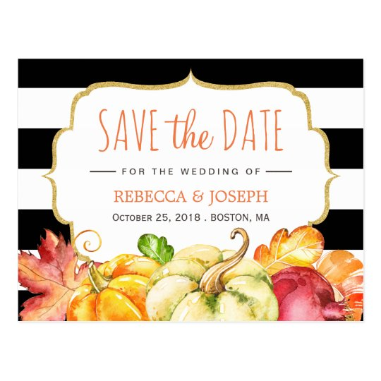 Fall Save the Date - Autumn Pumpkin Maple