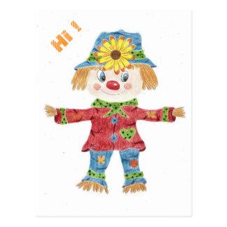 Fall scarecrow kid postcard