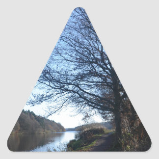 Fall Scene In England Triangle Sticker