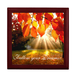 Fall Scene Keep Sake/Gift Box/Follow your Dreams.. Large Square Gift Box
