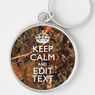 Fall Season Camouflage Keep Calm Your Text Key Ring