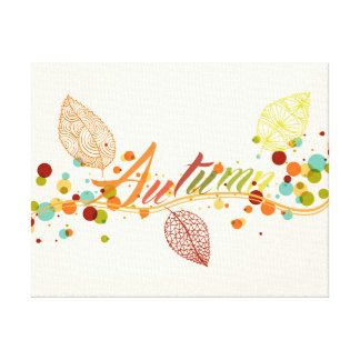 Fall Season Leaf And Bubbles Composition Canvas Print