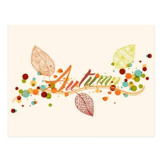 Fall Season Leaf And Bubbles Composition Postcard
