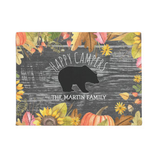 Fall Season Rustic Wood Bear | Happy Campers Doormat