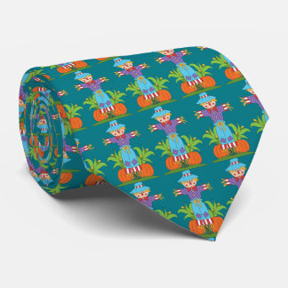 Fall Seasonal scarecrow pattern mens tie