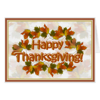 Fall Seasons Best Happy Thanksgiving Text Greeting Card