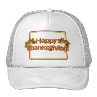 Fall Seasons Best Happy Thanksgiving Text Mesh Hat