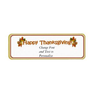 Fall Seasons Best Happy Thanksgiving Text Return Address Label