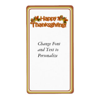Fall Seasons Best Happy Thanksgiving Text Shipping Label