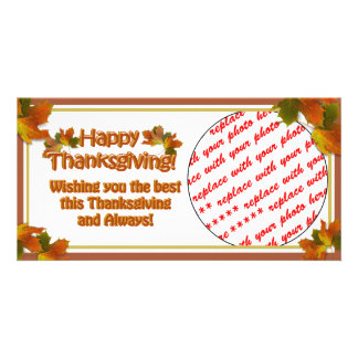 Fall Seasons Best Happy Thanksgiving Text Custom Photo Card
