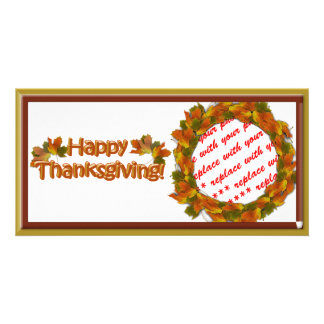 Fall Seasons Best Happy Thanksgiving Text Photo Cards