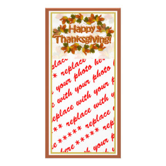 Fall Seasons Best Happy Thanksgiving Text Photo Greeting Card