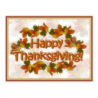 Fall Seasons Best Happy Thanksgiving Text Postcard