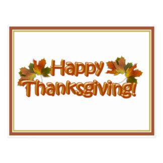 Fall Seasons Best Happy Thanksgiving Text Postcard