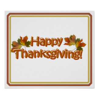 Fall Seasons Best Happy Thanksgiving Text Poster
