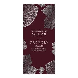 Fall Silver and Burgundy Leaves Wedding Programs Custom Rack Card