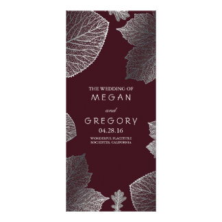 Fall Silver and Burgundy Leaves Wedding Programs Rack Card