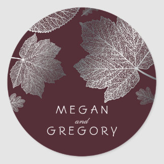 Fall Silver and Burgundy Leaves Wedding Round Sticker