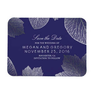 Fall Silver Leaves Navy Save the Date Magnet