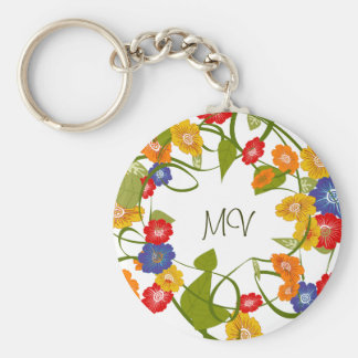 Fall Spring Floral Key Chain