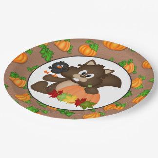 Fall squirrel cartoon paper plate