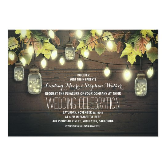 Fall String Lights and Mason Jars Rustic Wedding