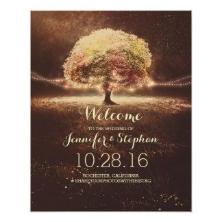 Fall String Lights Tree Wedding Welcome Sign