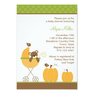 Fall Stroller Baby Shower Invitations