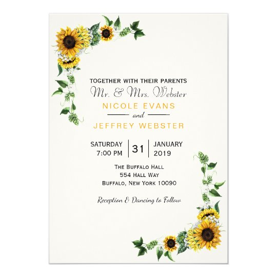 Fall Sunflower Rustic Barn Country Wedding Card